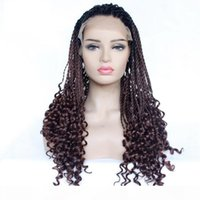 Wholesale Two Tone Twist Braids Hair Wigs Curly Braided Lace Front Wig Synthetic Heat Resistant Fiber Glueless Half Hand Tied for Women