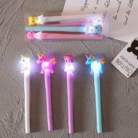 LED Unicorn Bear Gel Ballpoint Pens Kawaii Ink Pen School Stationery Office Suppliers Kids Writing Gift