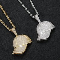 18k gold Cubic zirconia baseball hat necklace jewelry set Bling diamond hip hop summer hats pendant necklaces women men stainless steel chain will and sandy dropship