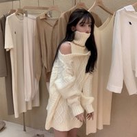 Women's Sweaters Suéter feminino com gola alta, pulôver de malha sem ombro para outono e inverno, folgado, longo 44W2