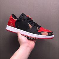 CNY 1 Low Sports Schuhe Schwarz Rot Gold Jumpman Casual Schuh Chinesisches Neues Jahr DD2233-001