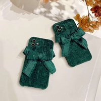 Plush green grid bow phone cases for iphone 13 pro max 12 11 X XR XS 7 8 plus case cover
