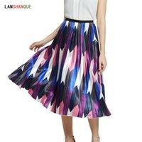 Faldas estilo elegante arco iris decoloración rayas retro mujeres de alta calle a-line plised midi