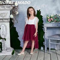 Wholesale High Low Lace Flower Girl Dress Style Flare Sleeve Princess Dresses for Wedding Party Kids Clothes E17127 210520