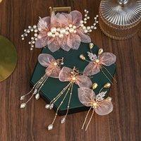 Big Pearls Tiara Hair Combs и Chainpins Clips Серьги Установить Золотая гребня для волос Розовая лента Свадебные свадебные аксессуары Барьерки