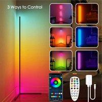 코너 플로어 램프 RGB 색상 변경 서있는 램프 Dimmable LED 높이 독서 램프 블루투스 로망 스마트 앱 컨트롤 거실 침실 투사 램프