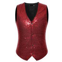 Men's Vests Wine Red Sequins Vest Men Chalecos Para Hombre 2021 Brand Slim Fit Sleeveless Waistcoat Wedding Stage Singer
