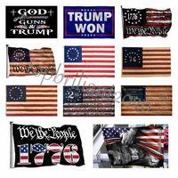 DHL Free American Flag-Fave из-за страха Бог Иисус 3х5 футов Флаги 100D полиэстер баннеры крытый открытый яркий цвет высокого качества с двумя латунными втулками