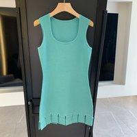 420 2021 Robe de piste de piste Spring Summer Marque Même Style Empire Sans manches Équipe Necque Bleu Silk Robe Femme Robe Femme Haute Qualité FL