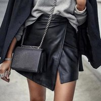 Skirts Woman High Waist Short Skirt Sexy Solid Split Leather Irregular Mini Design Full Of Fashion Mujer Faldas