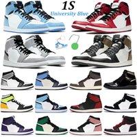 2021 Мужчины Баскетбол Баскетбол Jumpman 1 Обувь Университет Синий 1S Темные Моча Черный Золотой Обсидиан Чикаго Твист ржавчины Розовые Моды Мужские Женщины Спортивные кроссовки