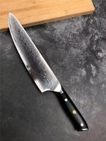 10 inch kitchen knife Damascus steel Sharp Blade G10 handle Cooking Tool Gift Box
