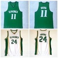 NCAA St Patrick 24 Kyrie Irving 11 Jersey di pallacanestro del liceo Green Bianco Squadra bianca Squadra traspirante Camicia di cotone puro traspirante per gli appassionati di sport Eccellente qualità in vendita