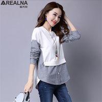 Arealna autunno autunno camicia da donna a maniche lunghe camicie casual camicie vintage stripe cuciture falso due pezzi donne camicette Blusas X0708