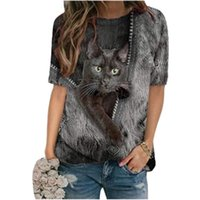 T shirt 2021 Womens Pullover 3d Cartoon Cat Print t Shirt O-neck Short Sleeve Loose Shirts Spring Casual Plus Size Ops