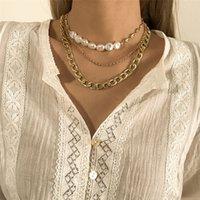Goth Baroque Pearl Choker Ожерелье для женщин Свадебная Коллер Femme Старинные Тонкая Ссылка Кливицы Цепи Ожерелье Ювелирные Изделия Аксессуары