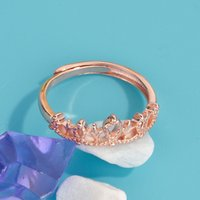 ring Women's fashion hand decorated princess crown with blank copper plated rose gold jewelry