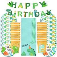Dinosauro Tema Partito Dinosauro Palloncino Dispositivo di stoviglie monouso Set per bambini Boy Birthday Party Decorazione Giungla Party Baby Shower Favore HWA7575