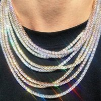 Diamond CZ Zircon Iced Out Tennis Silver Gold Chain Necklaces For Women Men Fashion Hip Hop Jewelry Necklace