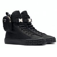Re-Nylon Re-Nylon Luxurys المصممين أحذية رجالية النساء Gabardine أحذية رياضية عالية مع الحقيبة النايلون القابلة للإزالة الجلود بطانة القطن الأربطة 14 سم التمهيد الساق