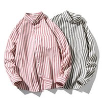 Uomo Stripe Casual Shirts Fashion Trend Manica Lunga a maniche lunghe Pulsante Top Tee Desinger Maschile Primavera Nuovo Plus Size Shirts allentati