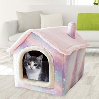 Cat Beds & Furniture Plush Pink Starry Pet House Nest Soft Kennel Detachable Semi-closed Basket Washable Cave Cats Product
