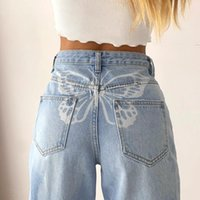 나비 프린트 데님 바지 Y2K 여성 Jean Girls 패션 하이 웨이스트 바지 하라주쿠 카프리스 Streetwear
