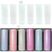 UV Renk Değiştirme Tumbler 20 OZ Düz Süblimasyon Tumbler Güneş Işık Algılama Paslanmaz Çelik Düz Sıska Tumbler Kapak ve Straws ile CCA12667 Deniz Nakliye