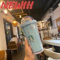 Новый 450 мл Симпатичные Радуга Starbucks Чашка Двойной пластик с соломинкой ПЭТ материал для детей Взрослый Girlfirend для подарочных продуктов Оптовая