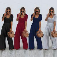 High waist jumpsuit women's summer 2021 new temperament slim round neck solid color casual pants trousers fashion jumpsuit.