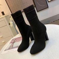 Женские сапоги дизайнерские силуэты лодыжки ботинок высочайшего качества высокие каблуки обувь вышитые растягивающиеся текстильные резиновые днище с коробкой EU35-41