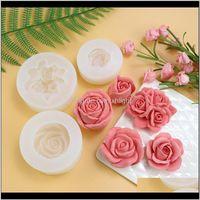 Moulds Bakeware Kitchen, Dining Bar Home & Garden Drop Delivery 2021 3D Rose Sile Mold For Mousse Soap Candle Fondant Making Flower Shape Diy