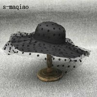 S-Maqiao الصيف الفرنسية سترو قبعة أنيقة نقطة شبكة سيدة الشمس في الهواء الطلق المرأة الترفيه قبعة الأزياء عطلة 210611