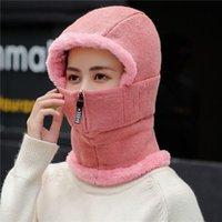 Chapeau de sonneries de dames d'hiver avec masque complet coupe coupe-vent femmes cyclisme chapeaux peluche chaleureuse glissière de fermeture à glissière créative de masque de masque de masque