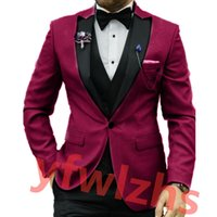 Custom-made One Button Groomsmen Peak Lapel Groom Tuxedos Men Suits Wedding Prom Dinner Man Blazer(Jacket+Pants+Tie+Vest) W925