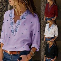 Casual Vintage Shirt Blouse Women Floral Printed Lantern Moda V Size Neck And Tops Blusas Sleeve Plus Mujer De Y8A7 Women's Blouses & Shirts