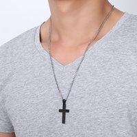 Mens Stainless Steel Cross Pendant Necklaces Men s Religion Faith crucifix Charm Titanium steel chain For women Fashion Jewelry Gift 75 T2