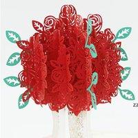 Rose Popup-Gravur-Karte 3D kreative Grußkarten Romantische rote Blume Handgemachte Karte Valentinstag-Geschenkkarten-kundenspezifische HWA7175
