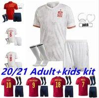 2021 Spagna Jerseys da calcio Casa Away Adulto Vestito Camiseta España Thiago Koke Saúl Asensio Paco Morata A.Iniesta Pique Bambini Kit ALCACER SERGIO RAMOS ALBA