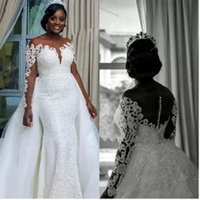 Vintage Mermaid Wedidng Dress With Long Sleeves African Lace Applique Tulle Sheer Neck Black Girl Bride Gowns Detachable Train Backless Custom Made Women Dresses