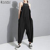 잔지아 여성 여름 jumpsuits hawstring harem rompers 캐주얼 스트랩 바지 여성 솔리드 긴 Playsuits 느슨한 멜빵 S-5XL K2J6 #