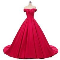 Vestido De Noiva Sleeveless Sweetheart Lace up Wedding Dress 2019 Red Ball Gown Wedding Gowns robe de mariage