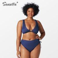 المرأة ملابس السباحة SEACELSILE زائد حجم البحرية مضلع الرباط عالية الخصر بيكيني مجموعات المرأة مثير كبير قطعتين ملابس السباحة 2021 بدلة السباحة