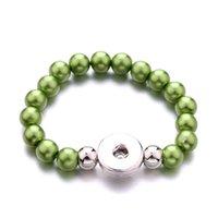 Mulheres Snap Botão Bracelete Acrílico Imitação Pérola Beads Hand Strand Braceletes Jóias Fit DIY 18mm Gengibre Snaps Bangle Elastic Elastic