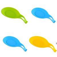 Cuchara de silicona Pad Color Pure Cucharas Cucharas En Forma En Forma De Cocina Gadget De Alta Temperatura Resistencia Fácil de limpiar DHF5970