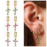 Hoop & Huggie CANNER Purple Green Black Diamond Cross Earrings For Women 925 Sterling Silver Dangle Pendientes Plata Piercing Jewelry