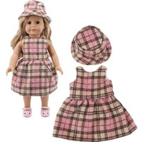 Plush Dolls Two-piece Pop Clothes. 1set = Jurk + Hat. for 43cm Reborn Baby and 18-inch American , Christmas Gifts Children{category}