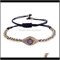 Charm Jewelryanil Arjandas Bracelets 24K Gold Color Beads & Evil Eye Spacer Briading Rame Bracelet Pulseira Feminina Drop Delivery 2021 Yniwg