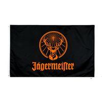 Fabrik Direkter Großhandel doppelt genäht 3x5FTs 90 * 150 cm Black Jagermeister Flagge Leben Flagge für Dekoration BWB5967