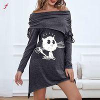 Casual Dresses For Women 2021 Lovely Cat Clothes Solid Color Slash Neck Pleated Long Sleeve Irregular Hem Dress Vestidos